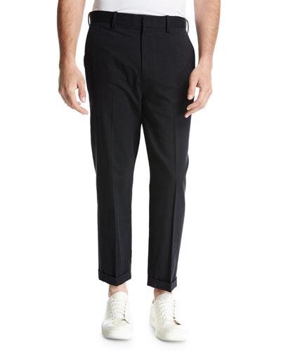 Cuffed Drop-Inseam Trousers, Black