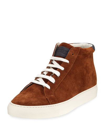 Suede High-Top Sneaker, Caramel (Brown)
