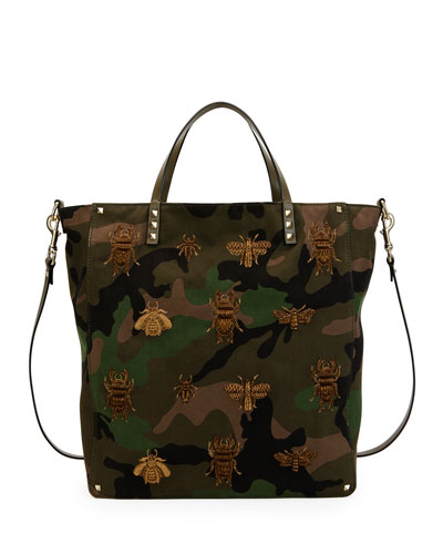 Men's Insect-Embroidered Camo Tote Bag, Green