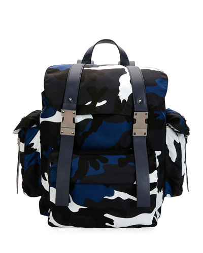 Camo-Print Nylon Backpack, Marine Blue