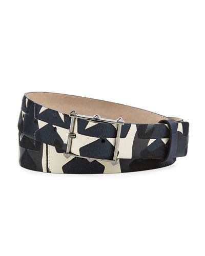Camustars Rockstud Leather & Canvas Belt