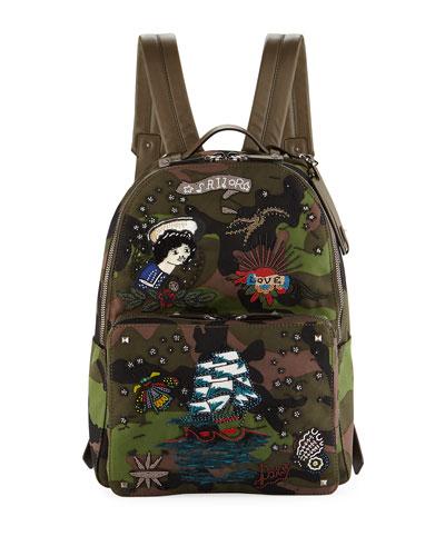 Embroidered Tattoo Camu Backpack