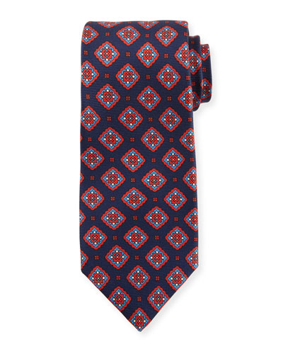 Medallion Boxes Silk Tie, Blue