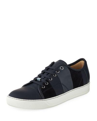 Men's Striped Leather Low-Top Sneaker