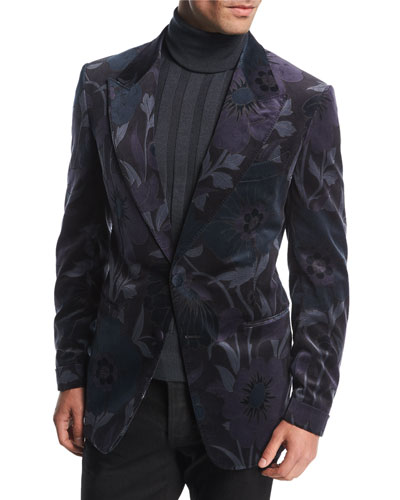 Shelton Base Floral Velvet Dinner Jacket