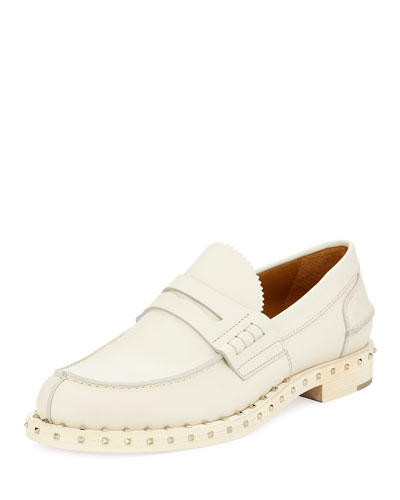 Rockstud Leather Penny Loafer, Ivory