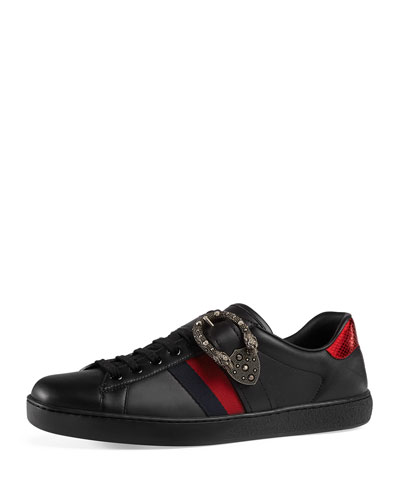 Ace Leather And Webbing-trimmed Printed Canvas Sneakers - GreenGucci pFuzq7