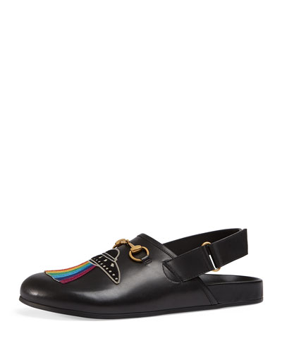 River Horsebit Leather Slipper with Appliqu&#233s, Black