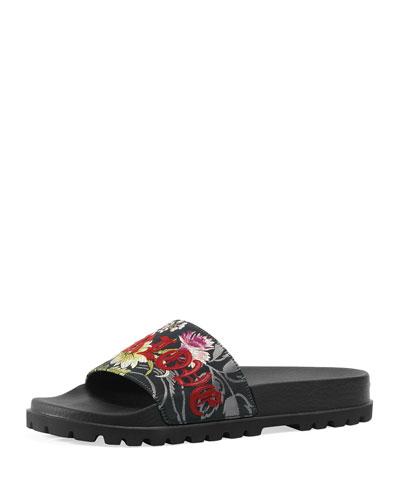Pursuit Treck Floral Jacquard Slide Sandal, Multicolor