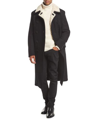 Shearling-Trim Pea Coat