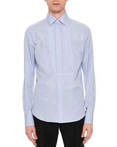 Striped Cotton Bib Shirt