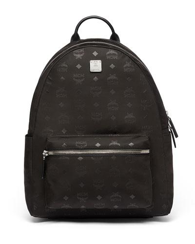 Dieter Monogramed Canvas Backpack, Black