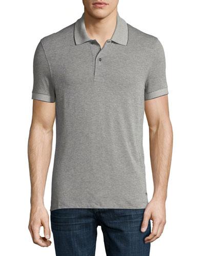 Pique Polo Shirt, Medium Gray