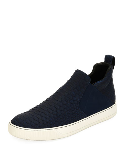 Men's Python & Leather Mid-Top Skate Sneaker, Medium Blue