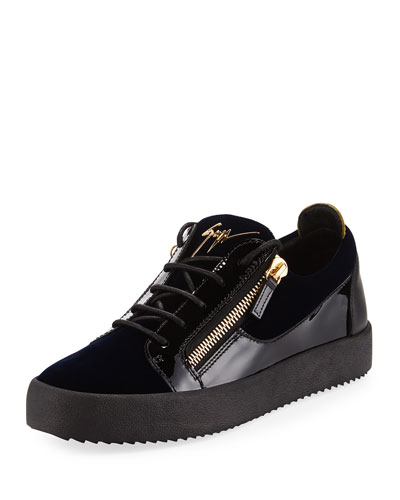 Men's Velvet & Patent Leather Low-Top Sneaker