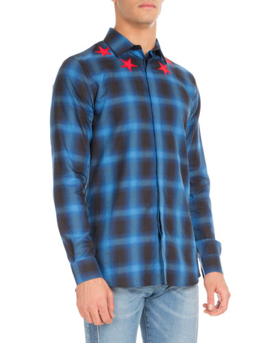 Plaid Star-Embroidered Button-Front Shirt, Blue