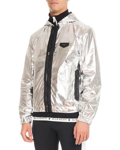 Hooded Foil Zip-Front Jacket, Silver