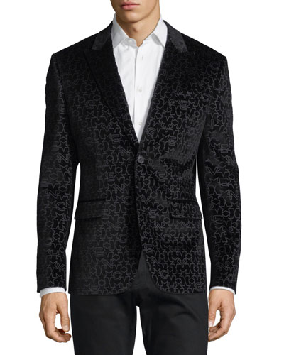 Logo-Pattern Velvet Evening Jacket