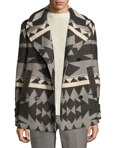 Beacon Patterned Wool Pea Coat, Gray