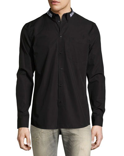 Real Eyes Embroidered Cotton Shirt, Black