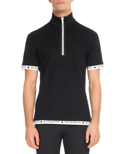 Logo-Trim Zip-Front Polo Shirt, Black