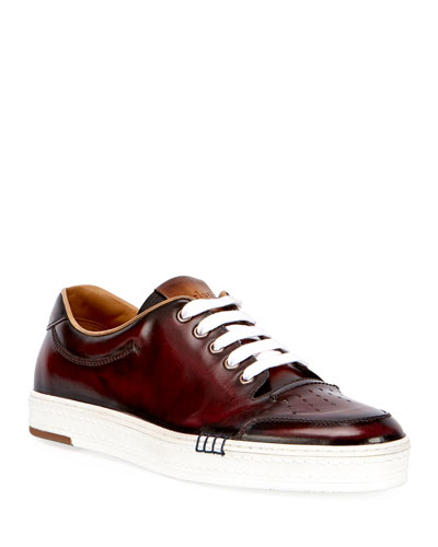Calf Leather Tennis Shoe, Red