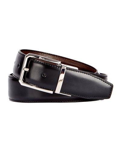 Berluti Versatile 35mm Reversible Leather Belt, Black