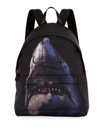 Shark-Print Nylon Backpack, Multicolor