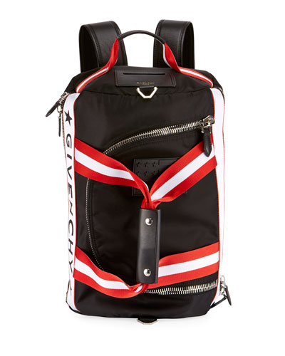Logo Striped Backpack-Duffel Bag, Black/White