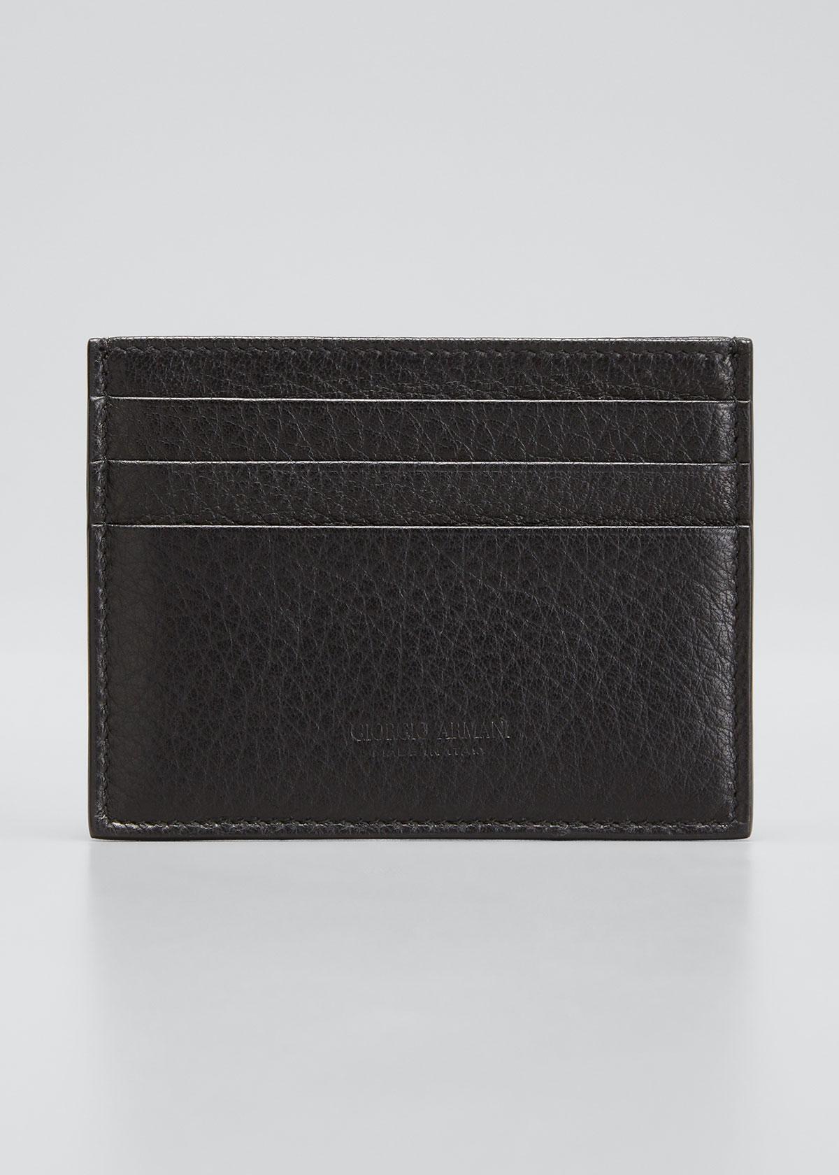 Giorgio Armani LEATHER CARD CASE, BLACK