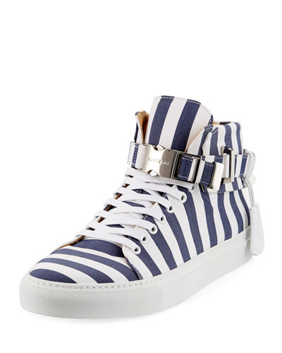 Men's 100mm Striped Canvas High-Top Sneaker, Blue Ink