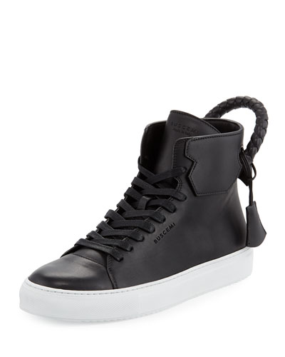 Men's 125mm Leather High-Top Sneaker, Black