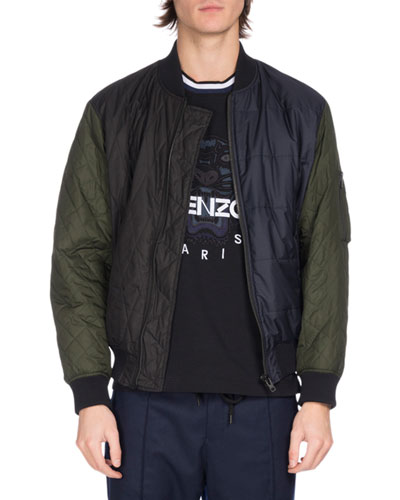 Quilted Colorblock Bomber Jacket, Navy