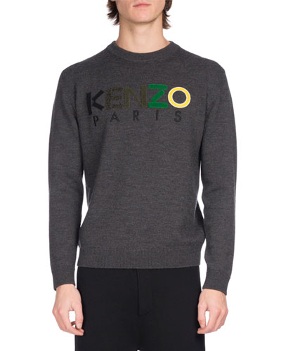 Wool Mixed-Media Logo Sweater, Dark Gray