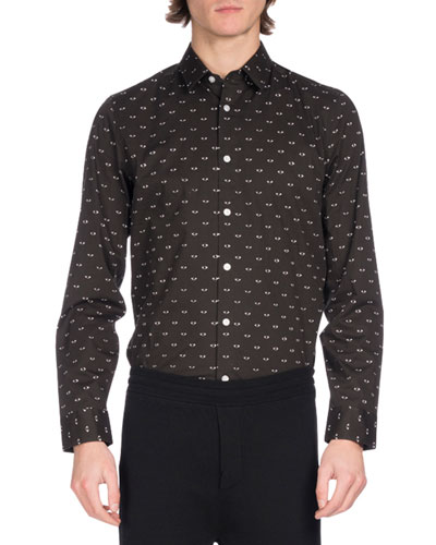 Eye Icon Slim-Fit Stretch Cotton Shirt, Black