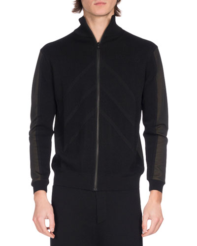 Kenzo Knits TWO-TONE ZIP-FRONT TRACK JACKET, BLACK