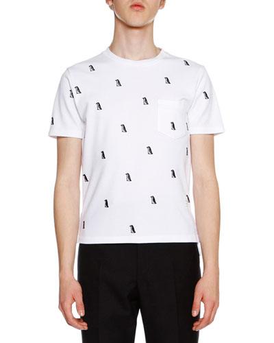 Short-Sleeve Penguin-Embroidered Tee, White