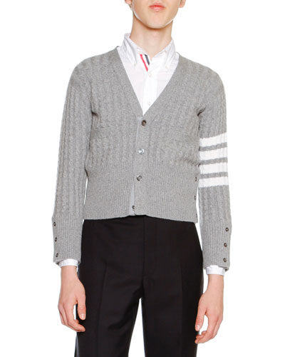 Cable-Knit Cashmere V-Neck Cardigan, Light Gray