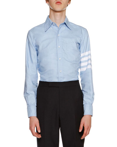 4-Bar Striped Oxford Shirt, Light Blue