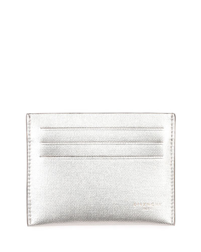 Metallic Leather Card Case, Silver