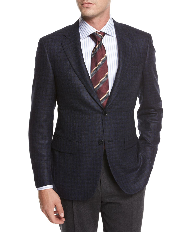 Check Silk-Wool Sport Coat, Blue/Black