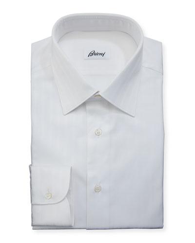 Tonal-Stripe Cotton Dress Shirt, White