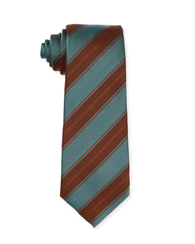 Diagonal-Stripe Silk Tie