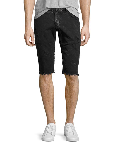 Distressed Twill Slim Cutoff Shorts