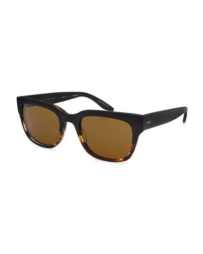 Stax Rectangular Acetate Sunglasses, Raven/Tortoise Gradient/Vintage Brown
