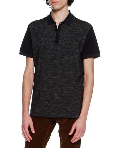 Slub-Knit Polo Shirt, Navy