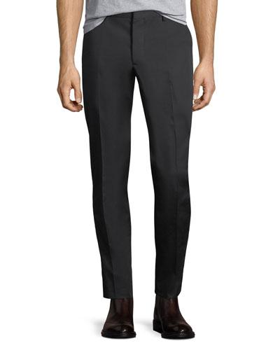 Flat-Front Cotton Chino Pants