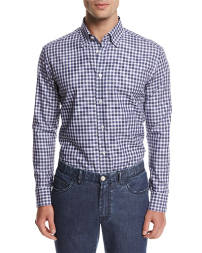 Check Cotton Shirt, Blue