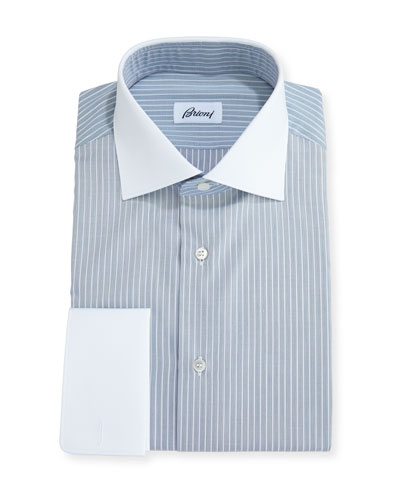 Striped Dress Shirt with Contrast Collar & Cuffs, Navy