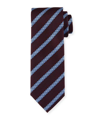 Cable-Stripe Silk Tie